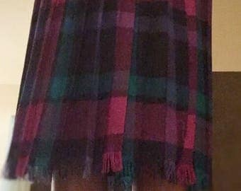 Plaid 100% wool skirt