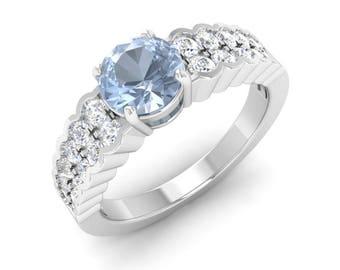 Round AAA Aquamarine Ring | Aquamarine Engagement Ring With Diamond 14K Gold | Aquamarine Gold Ring | Anniversary Gift | Certified Gemstone