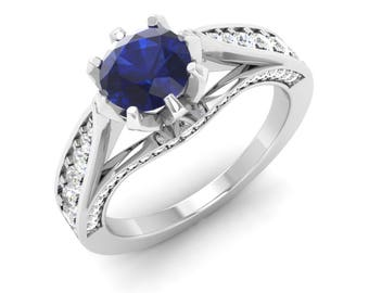 Natural AAA Blue Sapphire Engagement Ring | Blue Sapphire With Diamond In Gold | Diamond Gold Ring | Anniversary Gift | Certified Sapphire