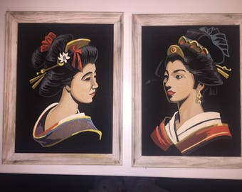Pair Black Velvet Geisha Paint by Number Paintings Kitsch Mid Century Art