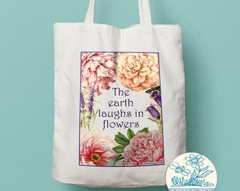 The earth laughs in flowers floral Tote Bag - Shopping Bag, Cotton Tote, Long-handled tote bag