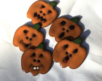Sale: Jack-o'-lantern Button with button holes, Holiday button, Halloween Button, Ceramic Button - sold individually