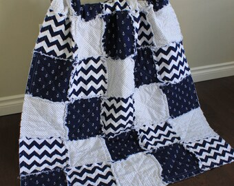 Baby Rag Quilt,Lightweight Nautical Baby Quilt, Crib Quilt, Anchor,Navy Blue And White,Nautical Nursery,Navy and White, Ready To Ship