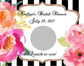 10 Black and White Striped Rose Bridal Shower Scratch Off Game Cards