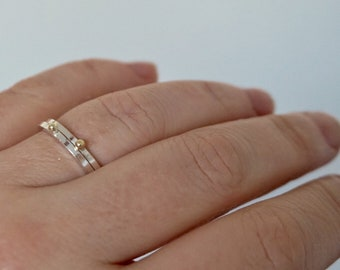 IN & OUT ring- sterling silver/14kt solid gold - by STICKTAILS