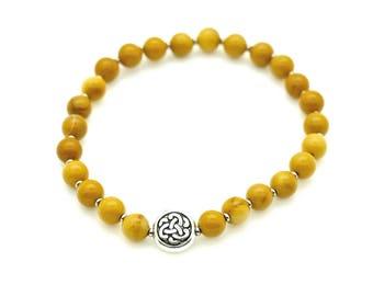 Yellow Mookaite Jasper Bracelet with Tibetan Knot