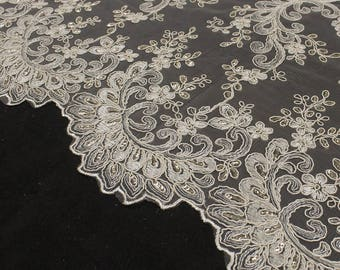 """Tan 51"""" Czarina Embroidered Flower with Sequins Scalloped Edge on a Mesh Lace Fabric by the Yard - Style 5004"""