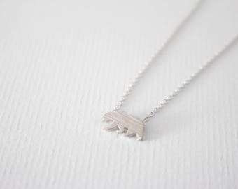 Bear Necklace,  Silver bear necklace, mama bear necklace, gift, bridesmaid gift, birthday gift