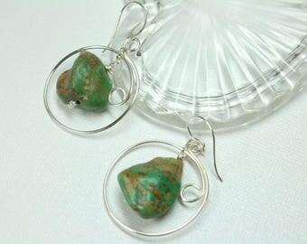 Silver Turquoise Earrings, Raw Turquoise Gemstones, Genuine Turquoise Hoop Earrings, Handmade Hoops, Southwestern Jewelry