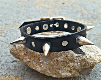 Real Leather Spiked Stacker Bracelet