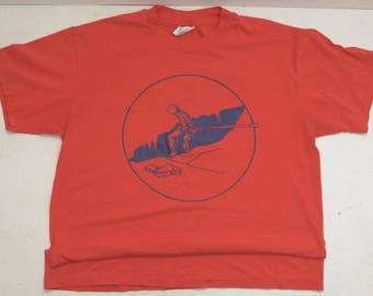 Vintage PMi Climbing Rope Red T-Shirt Size L USA Descend to New Heights; FREE Shipping U.S.A.