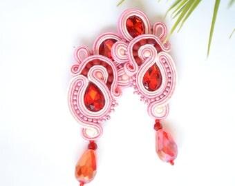 Pink-Red Soutache earrings - Statement Earrings, Soutache Earrings, Beaded Earrings, Hand Embroidered Earrings,Fiber Earrings