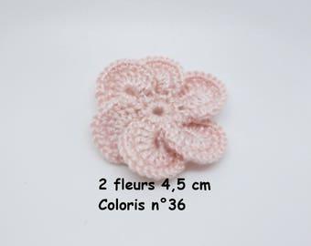 Set of 2 color No. 36 in Mercerized cotton crochet flowers