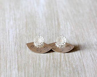Ear Jacket flower 925 Sterling Silver earrings