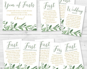 INSTANT DOWNLOAD -A Year of Firsts - Wine Gift Basket Tags - Bridal Shower Wine Gift - Elegant Garden Greenery