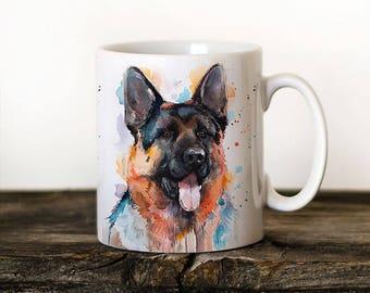 German Shepherd Mug Watercolor Ceramic Mug Unique Gift Coffee Mug Animal Tea Cup Art Illustration Cool Kitchen Art Printed mug dog