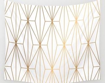 Gold Geometric Pattern Wall Tapestry, White Wall Tapestry, Wall Hanging, Gold Wall Tapestry, Tapestry, Bohemian Hanging, Boho Wall Tapestry