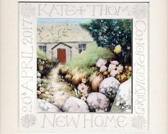 "Housewarming gift | New Home print | Personalised Calligraphy | 9.5"" x 9.5"" | Romantic Gift | Cartref | Ooak art | Custom fine art print"