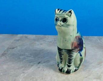 Vintage Grey/Green Cat Tonala Figurine - Collectible Kitten - Handpainted Ceramic Kitten Figurine