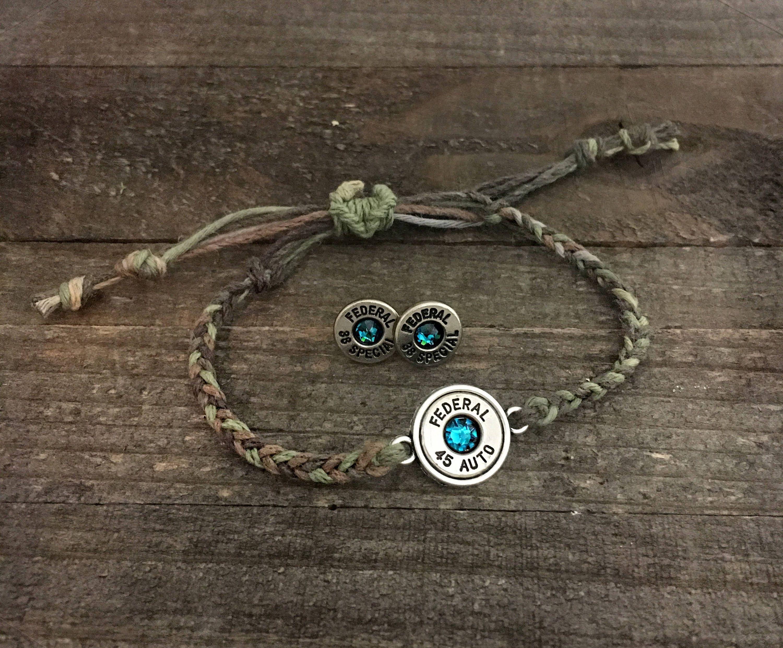 camouflage jewelry set bullet earrings bullet bracelet camo
