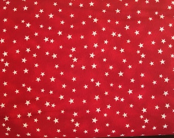 Red stars fabric by the yard - red fabric - patriotic fabric - red and white fabric #16428