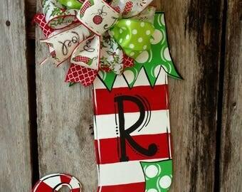 Christmas Stocking Door decor, winter door hanger. Christmas Door Hanger