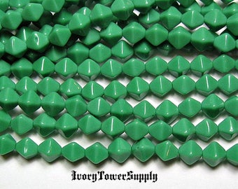 6mm Green Czech Glass Bicone Beads, White Beads, Glass Beads
