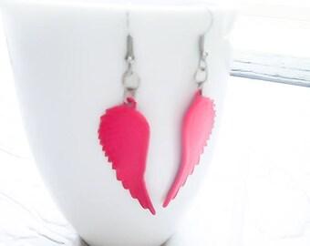 CLEARANCE - SALE - Angel wings - Pink earrings - Dangle Earrings - Steampunk earrings - Wiccan earrings - Bohemian earrings