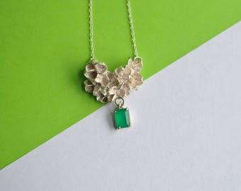 Bud Cluster Emerald Agate Drop Pendant