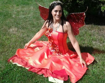 ONE OF A KIND Handmade Fire Fairy costume set (size 6)