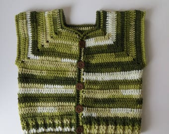 Crochet Boys Vest, Sleeveless Cardigan,2 to 3yrs, Toddler Spring/ autumn Clothes, Multi-Colour Sweater vest, green shades, gifts ideas, kids
