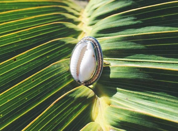 cowrie sunshine ring - silver and gold