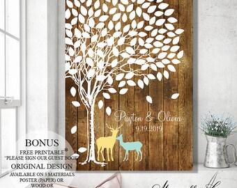 Alternative Wedding Guest Book Wedding Sign, Guest Book Sign, Wedding Tree, Rustic Guest Book Tree, Wedding Gift, Faux Wood Wedding Poster