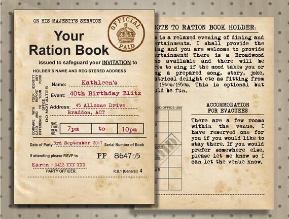Ration book invitation 1940s british uk ration book 90th birthday il570xn filmwisefo