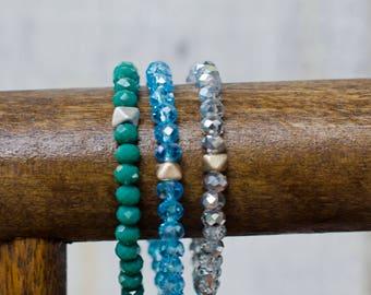 Beaded stretch bracelet (Set of 3) **Fair Trade, Handmade**