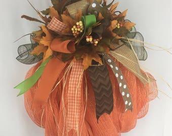 Pumpkin Wreath, Fall Wreath for Front Door, Autumn Wreath, Halloween Wreath
