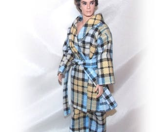 """Robe and Pajama Bottoms for 12"""" to 13"""" Male Fashion dolls. (Clothes only, silkstone Ken not included)"""