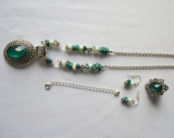 Vintage Designer Avon Turquoise Necklace Ring Earring Set