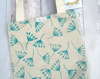 Organic cotton tote bag, natural, turquoise, nature, leaves, plants, gardening, flamingoes, shopping, screenprinting, cream, zipped pocket