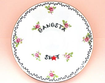 Gangster Sh*t Funny Floral Dish Vintage Saucer Ring Holder Earring Storage Adult Humor Gangsta Ironic Funny Gift For Her Pretty Pink Mature