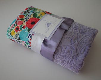 Floral Ladybug Minky with Lavender Minky Back and Coordinating Satin Trim - Baby Shower, Crib Bedding, Nursery