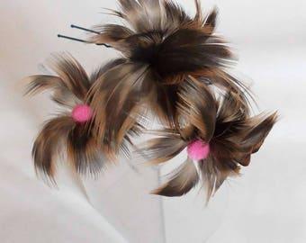 Woodpecker feather hair clip, Haarnadeln hair, hair accessories, feather, wedding, ceremony, wedding