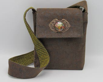 Steampunk Floral Brown Faux Leather Victorian Messenger/Shoulder Bag with matching checkbook cover -- Still Life
