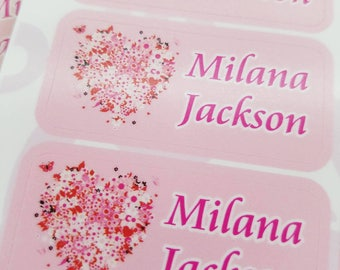 42 Dishwasher Safe & Waterproof Kids Personalized Name Label Stickers with Heart Flowers | Children Baby Bottle Daycare School Tag Sippy Cup