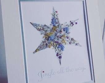 Christmas star  pressed flower art