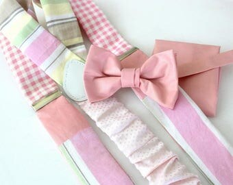 Suspender Set in rosa-pink,patchwork