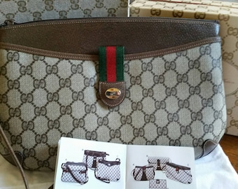 """New without Tag Vintage Brown Gucci """"Swagger"""" Shoulder or Clutch (Detachable Strap)"""