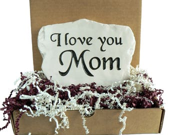 I love you Mom - Engraved in Stone,  Mother's Day gift.  Mom Rocks! w/ Gift Box!