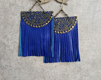 Fringe earrings Leather earrings Leather jewelry Blue earrings Dangle Big earrings Long tassel earrings Tassel jewelry Blue tassel