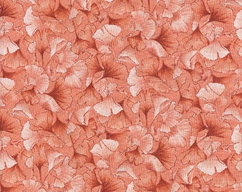 Petite Ginkgo Leaves: Coral Tonal Fabric from Kona Bay (1/2 Yd Increments)